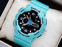 Наручные часы Casio Baby-G BA-110DE бирюзовые, с текстурой под джинс