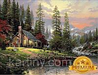Картины по номерам 40×50 см. Babylon Premium Охотничий домик Художник Томас Кинкейд
