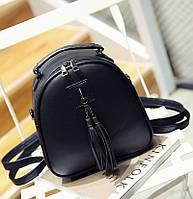 Рюкзак сумка женский городской для девушек с кисточками кожаный (черный)
