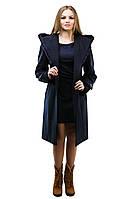 Женское пальто с отделкой из меха норки,рр 42-54,темно синее