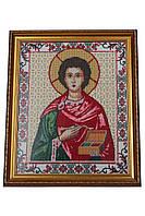 Вышитая икона Пантелеймон целитель