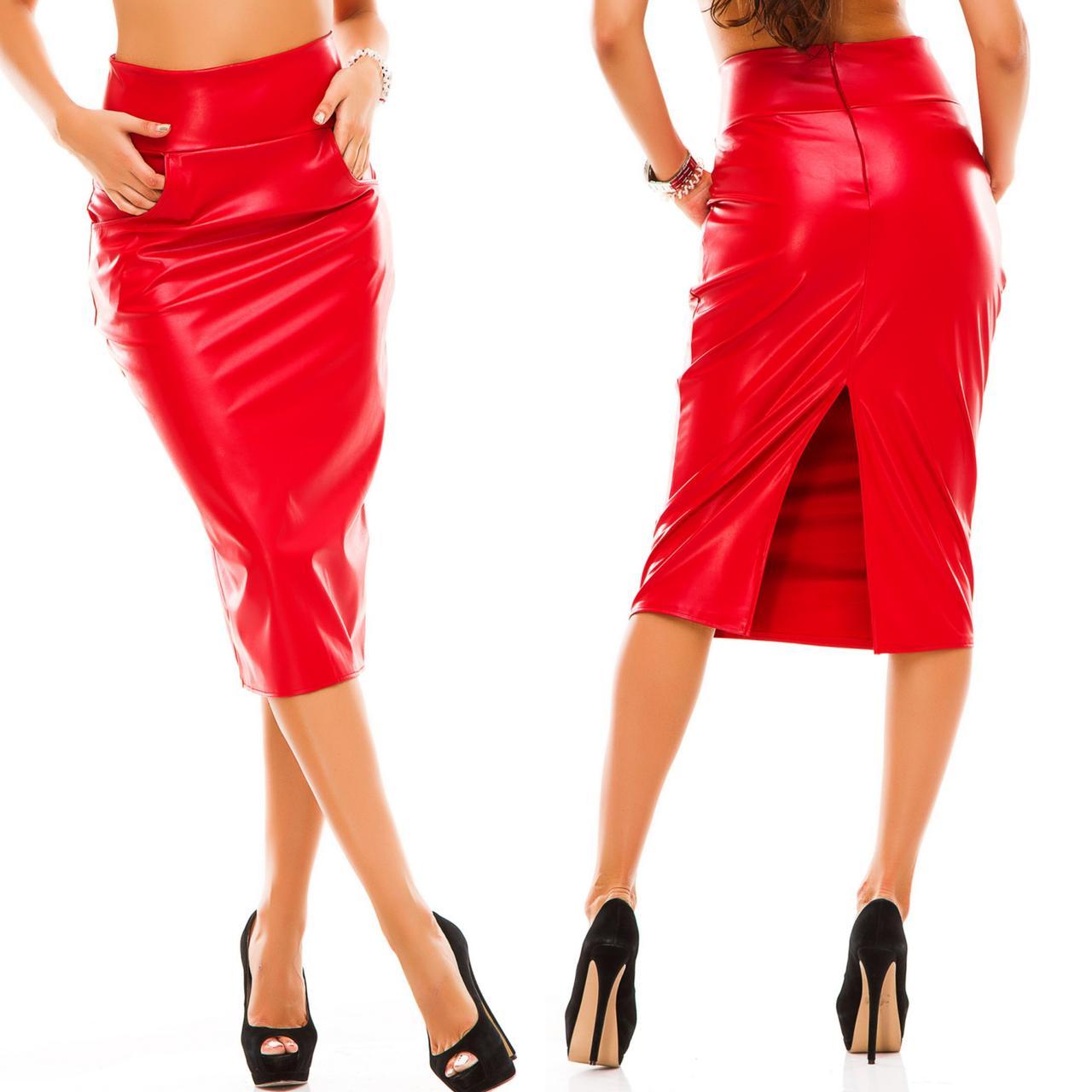 Стильная кожаная женская юбка миди