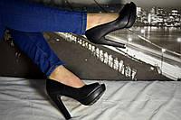 Туфли черные женские с открытым носком