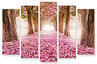 Модульная картина цветы и деревья