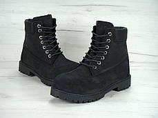 Ботинки мужскиеTimberland на меху черные топ реплика, фото 2