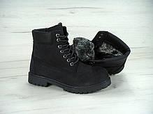 Ботинки мужскиеTimberland на меху черные топ реплика, фото 3