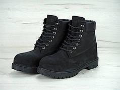 Ботинки мужскиеTimberland на меху черные топ реплика