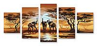 Модульная картина три слона