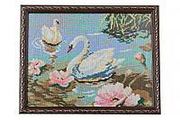 Вышитая картина Лебеди вышивка