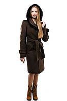 Женское пальто с отделкой из меха норки,рр 42-54,шоколад