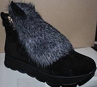 Ботинки женские зимние на подошве волна .Ботинки женские мех с ушками зимние В-2