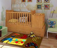 """Детская кроватка трансформер для новорожденных+колыбель/люлька """"Небо"""" (ольха)"""