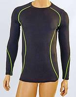 Компрессионная(утягивающая)футболка подростковая с длинным рукавом LD-1001Т-G черно-салатовый