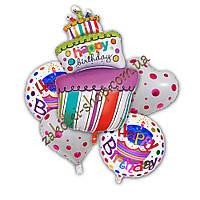 Фольгированные воздушные шары набор из 5 шаров, фигура тортик Happy birthday 38 дюймов/96 см 1 штука, сердечко
