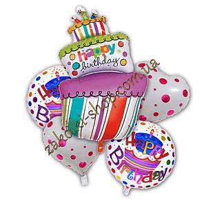 Фольговані кульки набір з 5 куль, фігура тортик Happy birthday 38 дюймів/96 см 1 штука, сердечко