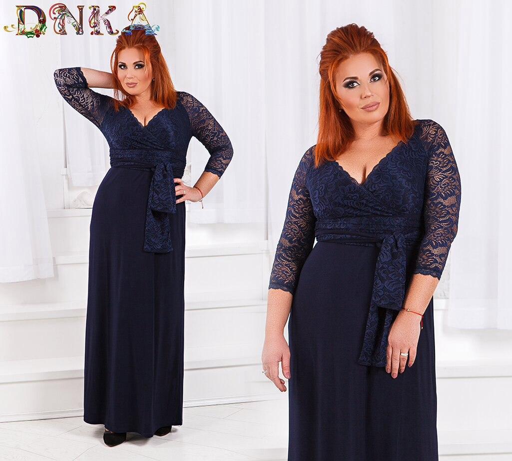Платье больших размеров, вечернее верх гипюр низ трикотаж, темно синего цвета  код 1/8376