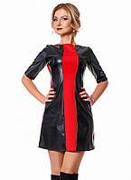Женское короткое платье из экокожи черно/красного цвета. Модель 1017.