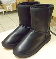 Угги женские высокие Классика черные кожаные