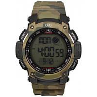 Спортивные часы Q&Q M119J800Y мужские кварцевые черные водонепроницаемые WR 100 с подсветкой