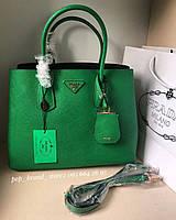 Модная женская сумка PRADA cuir double bag зеленая (реплика)