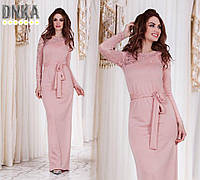 Вечернее платье в пол из трикотажа с кружевным рукавом, цвет пудра код 1/8388