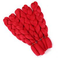 Канекалон однотонный красный 130/65 см