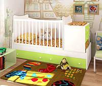 """Кровать для новорожденных трансформер 5в1 """"Небо"""" (белый-лайм)"""