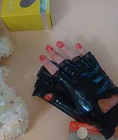 Перчатки митенки Натуральная кожа черный на липучке