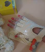 Перчатки митенки Натуральная кожа беж на липучке