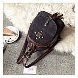 Рюкзак жіночий міський для дівчат вельветовий (чорний), фото 3