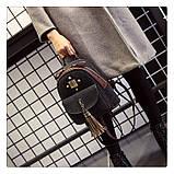 Рюкзак жіночий міський для дівчат вельветовий (чорний), фото 4