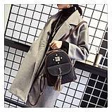 Рюкзак жіночий міський для дівчат вельветовий (чорний), фото 5