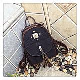 Рюкзак жіночий міський для дівчат вельветовий (чорний), фото 2