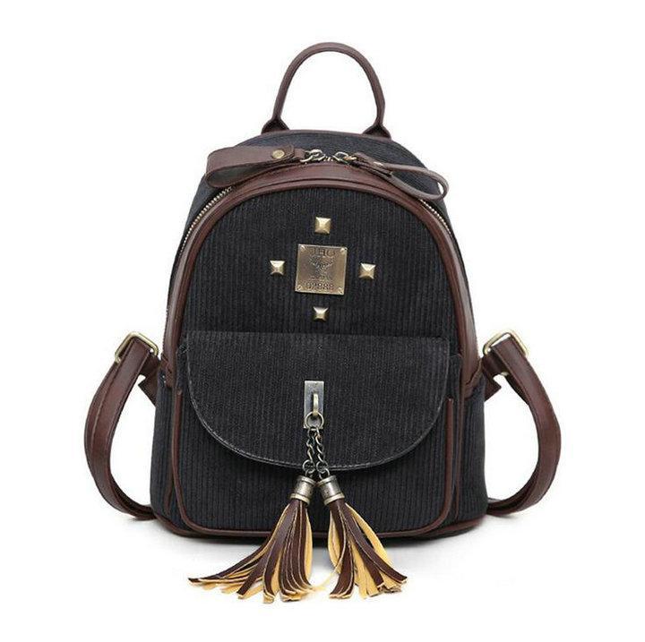 Рюкзак жіночий міський для дівчат вельветовий (чорний)