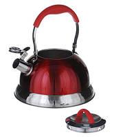 Чайник со свистком из нержавеющей стали 3,2 л (1383) Красный глянец