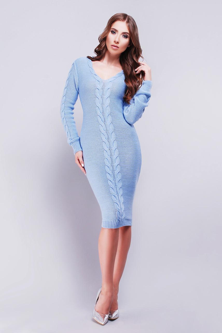 Красивое вязанное платье с узором коса 42-46 голубое