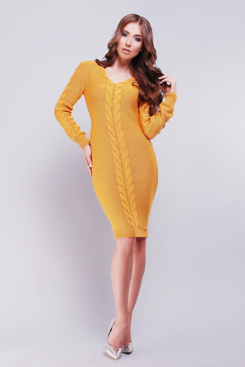 Тёплое вязанное платье с узором коса 42-46 горчица