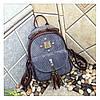Рюкзак женский городской для девушек вельветовый (серый)