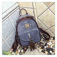 Рюкзак женский городской для девушек вельветовый (серый), фото 1