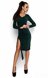 Женское платье с ангоры, темно-зеленое, р.42-48*