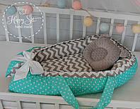 Кокон-позиціонер для новонароджених+ортопедична подушечка в м'ятно-сірих тонах 1360