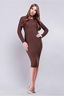 Вязанное платье с  крупным плетением в форме косы 42-46  коричневое, фото 1