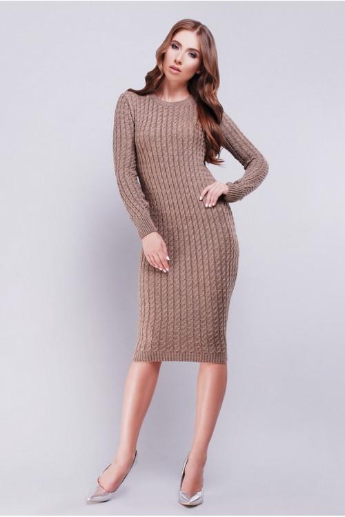 Стильное вязанное платье с  крупным плетением в форме косы 42-46 бежевое