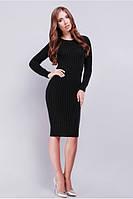 Элегантное вязанное платье с  крупным плетением в форме косы 42-46 чёрное