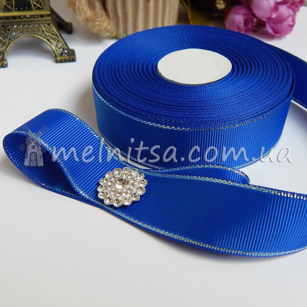 Лента репсовая с серебр. люрексом 25 мм, синий