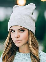Женская шапочка с ушками панды в цвете серый меланж  ОСЕНЬ - ЗИМА