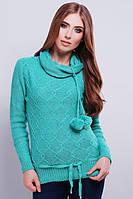 Красивый вязаный свитер с высокой горловиной 44-46 мята