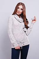 Женский вязаный свитер с хомутом 44-46 светло-серый, фото 1
