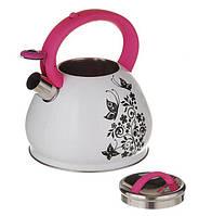 Чайник со свистком 3,0 л (1389)Нержавеющая сталь Термо-рисунок (Бабочки)