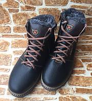 Зимние кожаные ботинки мужские К133 чёрно-кор.